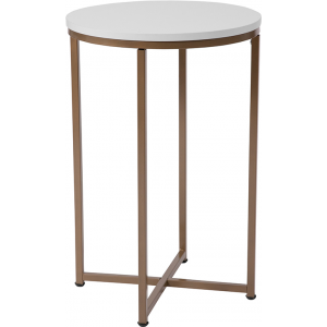 Wholesale Hampstead Collection White End Table with Matte Gold Frame