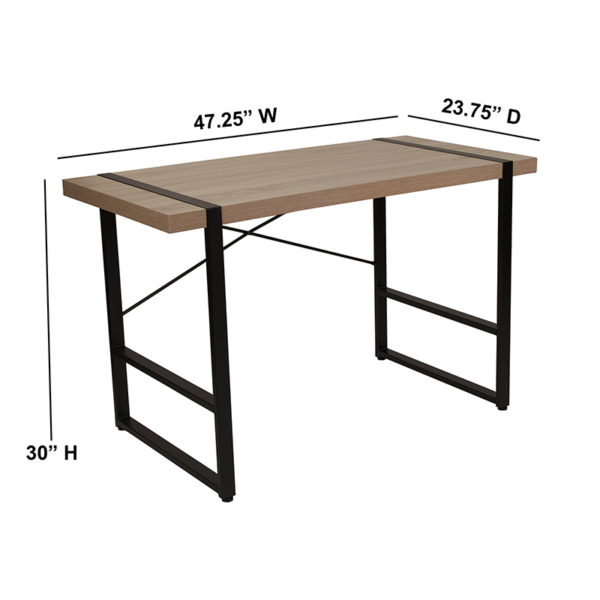 Lowest Price Hanover Park Rustic Wood Grain Finish Console Table with Black Metal Frame