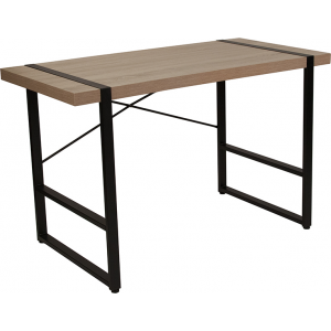 Wholesale Hanover Park Rustic Wood Grain Finish Console Table with Black Metal Frame