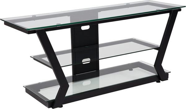 Wholesale Harbor Hills Glass TV Stand with Black Metal Frame