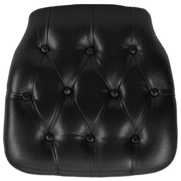 Wholesale Hard Black Tufted Vinyl Chiavari Chair Cushion