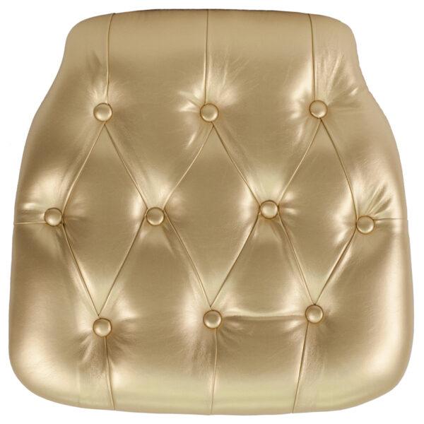 Wholesale Hard Gold Tufted Vinyl Chiavari Chair Cushion