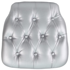 Wholesale Hard Silver Tufted Vinyl Chiavari Chair Cushion