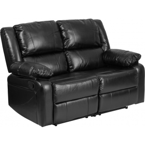 Wholesale Harmony Series Black Leather Loveseat with Two Built-In Recliners