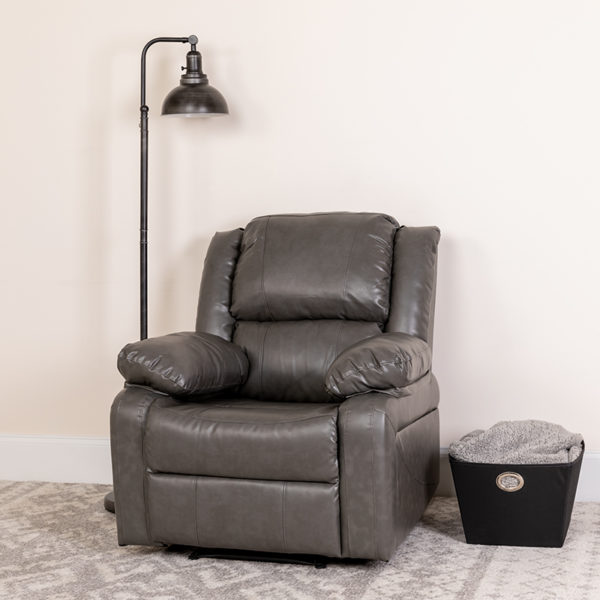 Lowest Price Harmony Series Gray Leather Recliner