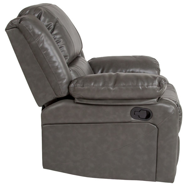 Contemporary Style Gray Leather Recliner