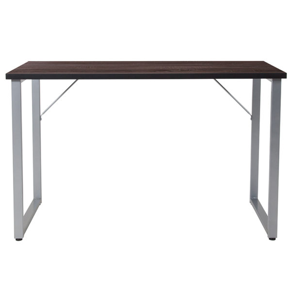 Lowest Price Harvey Black Finish Computer Desk with Silver Metal Frame