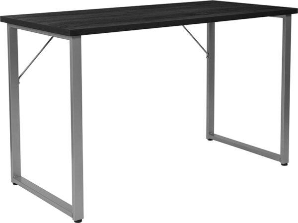 Wholesale Harvey Black Finish Computer Desk with Silver Metal Frame