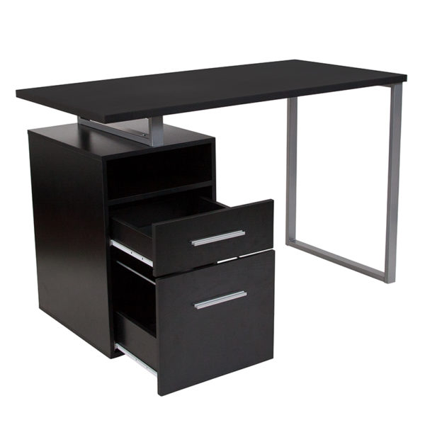 Lowest Price Harwood Dark Ash Wood Grain Finish Computer Desk with Two Drawers and Silver Metal Frame