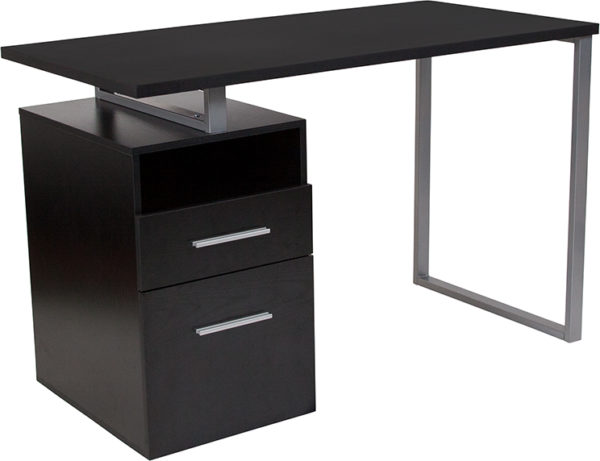 Wholesale Harwood Dark Ash Wood Grain Finish Computer Desk with Two Drawers and Silver Metal Frame