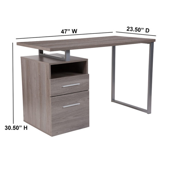 Lowest Price Harwood Light Ash Wood Grain Finish Computer Desk with Two Drawers and Silver Metal Frame