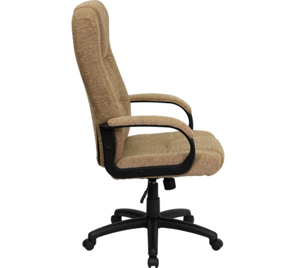 Lowest Price High Back Beige Fabric Executive Swivel Office Chair with Arms