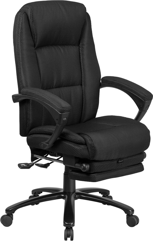 Wholesale High Back Black Fabric Executive Reclining Ergonomic Swivel Office Chair with Comfort Coil Seat Springs and Arms