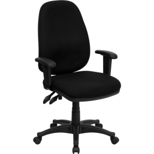 Wholesale High Back Black Fabric Executive Swivel Ergonomic Office Chair with Adjustable Arms