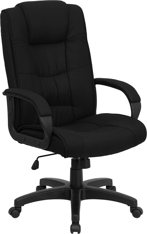 Wholesale High Back Black Fabric Executive Swivel Office Chair with Arms