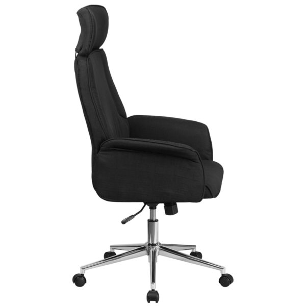 Lowest Price High Back Black Fabric Executive Swivel Office Chair with Chrome Base and Fully Upholstered Arms