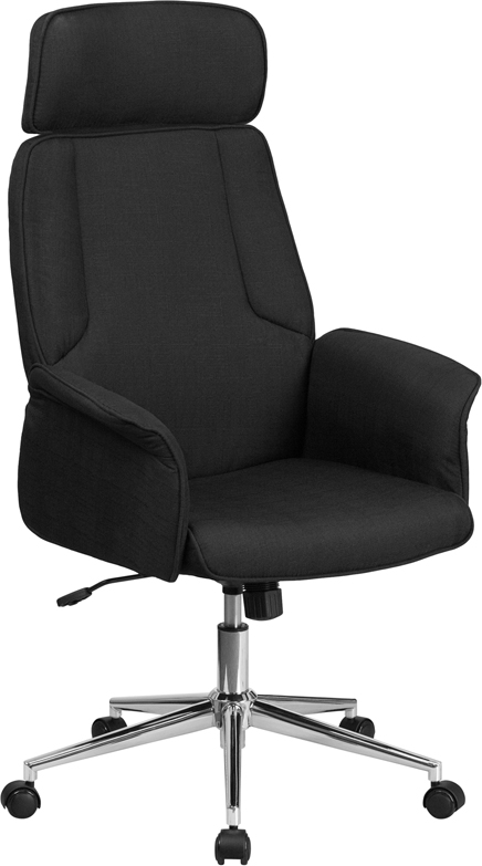 Wholesale High Back Black Fabric Executive Swivel Office Chair with Chrome Base and Fully Upholstered Arms