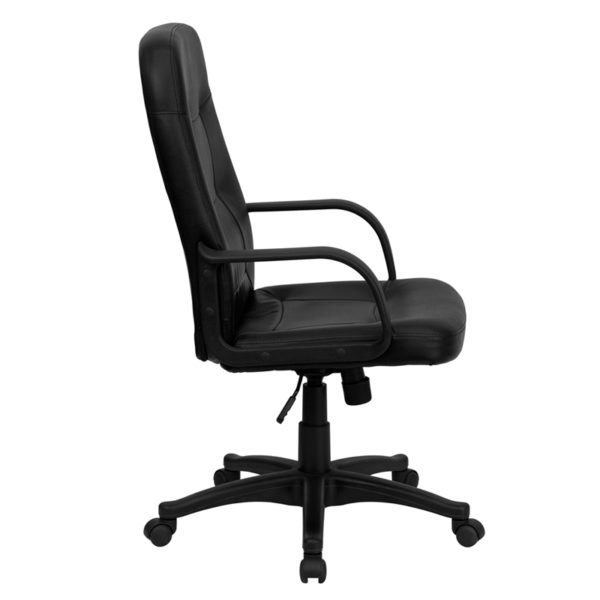 Lowest Price High Back Black Glove Vinyl Executive Swivel Office Chair with Arms