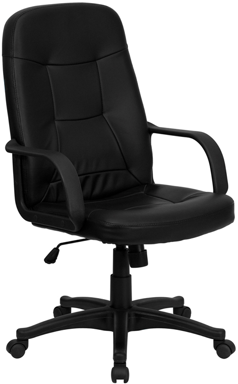 Wholesale High Back Black Glove Vinyl Executive Swivel Office Chair with Arms