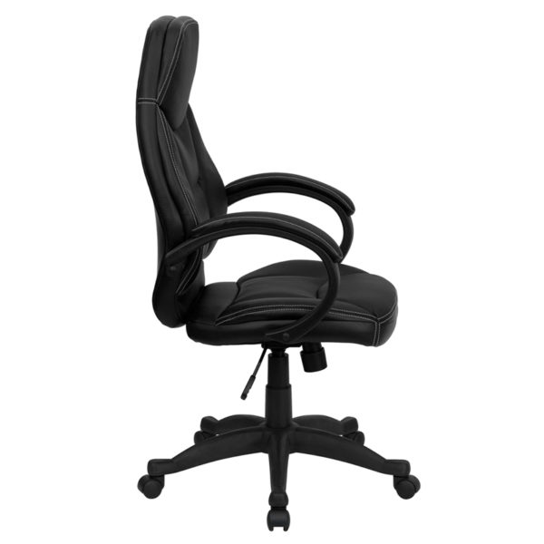 Lowest Price High Back Black Leather Contemporary Executive Swivel Ergonomic Office Chair with Curved Back and Loop Arms