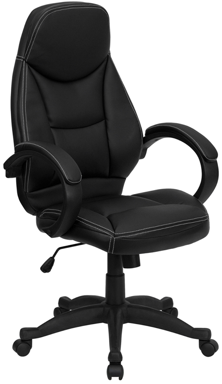 Wholesale High Back Black Leather Contemporary Executive Swivel Ergonomic Office Chair with Curved Back and Loop Arms