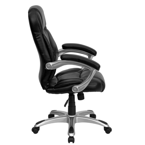 Lowest Price High Back Black Leather Contemporary Executive Swivel Ergonomic Office Chair with Silver Nylon Base and Arms
