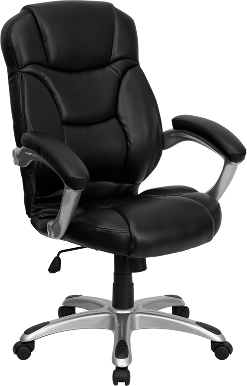 Wholesale High Back Black Leather Contemporary Executive Swivel Ergonomic Office Chair with Silver Nylon Base and Arms