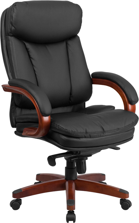 Wholesale High Back Black Leather Executive Ergonomic Office Chair with Synchro-Tilt Mechanism