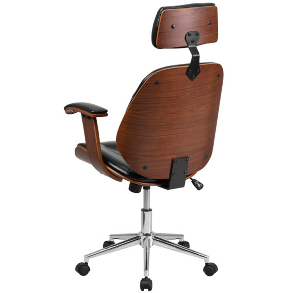 Contemporary Wood Office Chair Black High Back Leather Chair