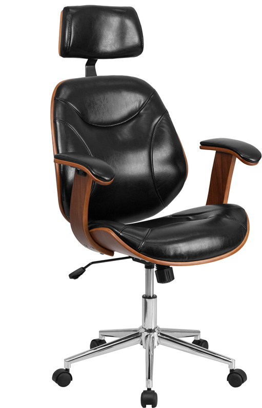 Wholesale High Back Black Leather Executive Ergonomic Wood Swivel Office Chair with Arms