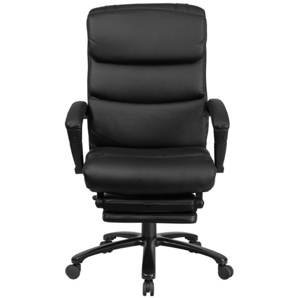 Contemporary Office Chair Black Reclining Leather Chair
