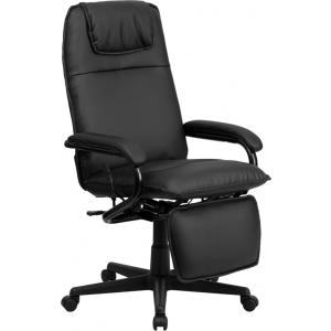 Wholesale High Back Black Leather Executive Reclining Ergonomic Swivel Office Chair with Arms
