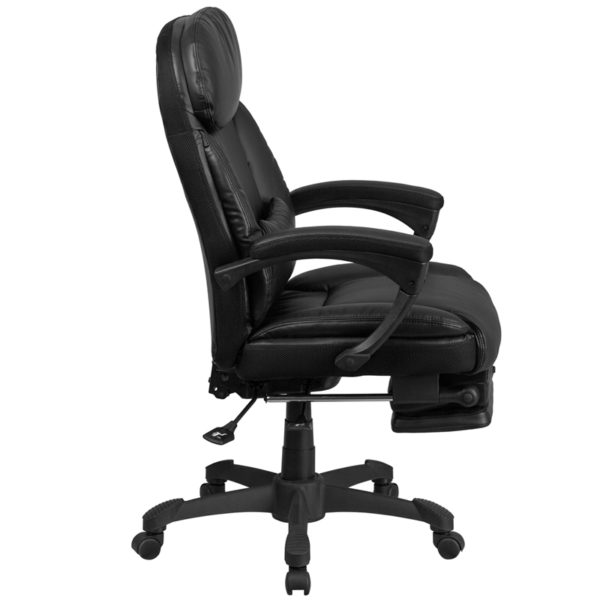 Lowest Price High Back Black Leather Executive Reclining Ergonomic Swivel Office Chair with Comfort Coil Seat Springs and Arms