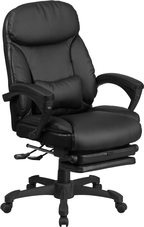 Wholesale High Back Black Leather Executive Reclining Ergonomic Swivel Office Chair with Comfort Coil Seat Springs and Arms