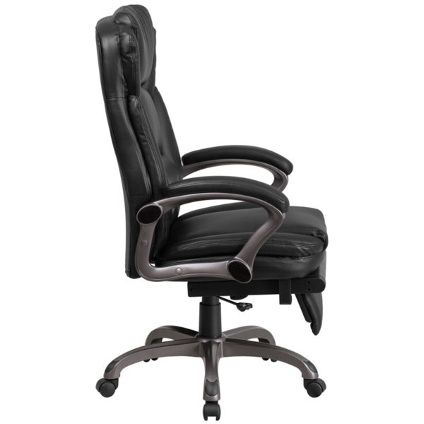 Lowest Price High Back Black Leather Executive Reclining Ergonomic Swivel Office Chair with Outer Lumbar Cushion and Arms