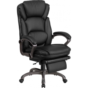 Wholesale High Back Black Leather Executive Reclining Ergonomic Swivel Office Chair with Outer Lumbar Cushion and Arms
