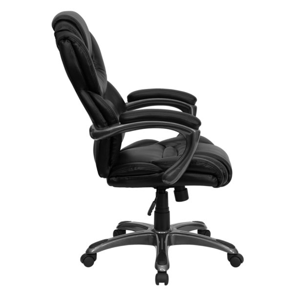 Lowest Price High Back Black Leather Executive Swivel Ergonomic Office Chair with Arms