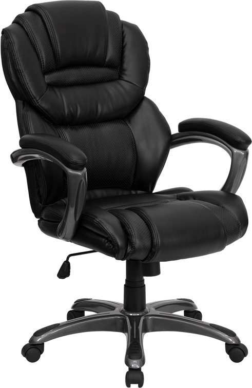 Wholesale High Back Black Leather Executive Swivel Ergonomic Office Chair with Arms