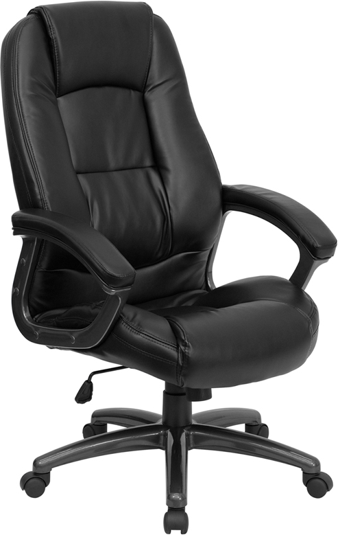 Wholesale High Back Black Leather Executive Swivel Ergonomic Office Chair with Deep Curved Lumbar and Arms
