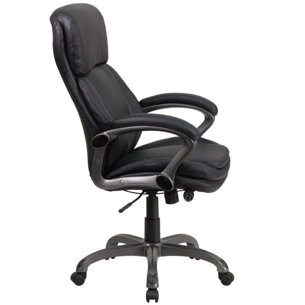 Lowest Price High Back Black Leather Executive Swivel Ergonomic Office Chair with Lumbar Support Knob with Arms