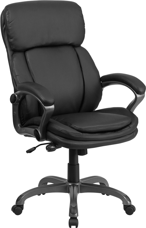Wholesale High Back Black Leather Executive Swivel Ergonomic Office Chair with Lumbar Support Knob with Arms