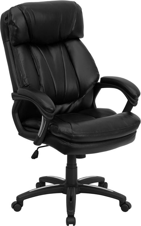 Wholesale High Back Black Leather Executive Swivel Ergonomic Office Chair with Plush Headrest
