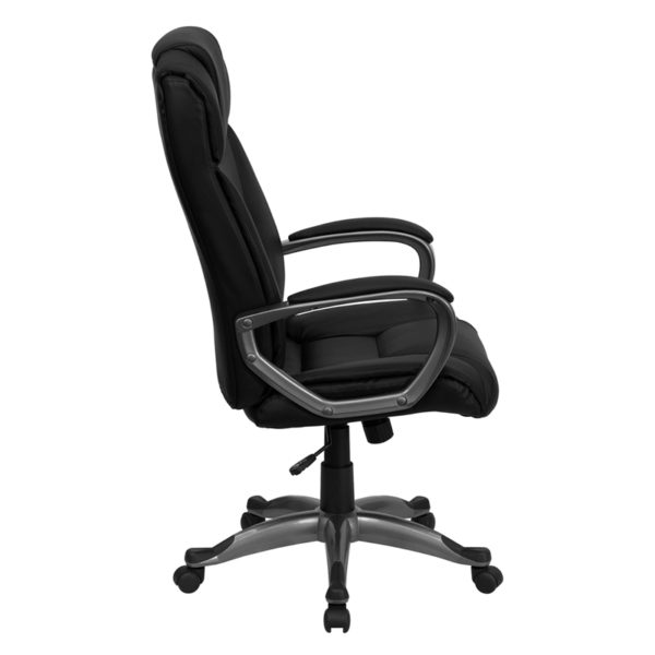Lowest Price High Back Black Leather Executive Swivel Office Chair with Arms