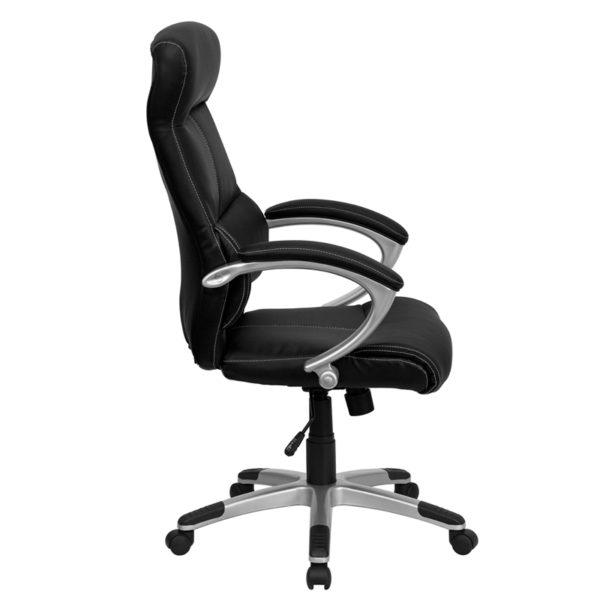 Lowest Price High Back Black Leather Executive Swivel Office Chair with Curved Headrest and White Line Stitching