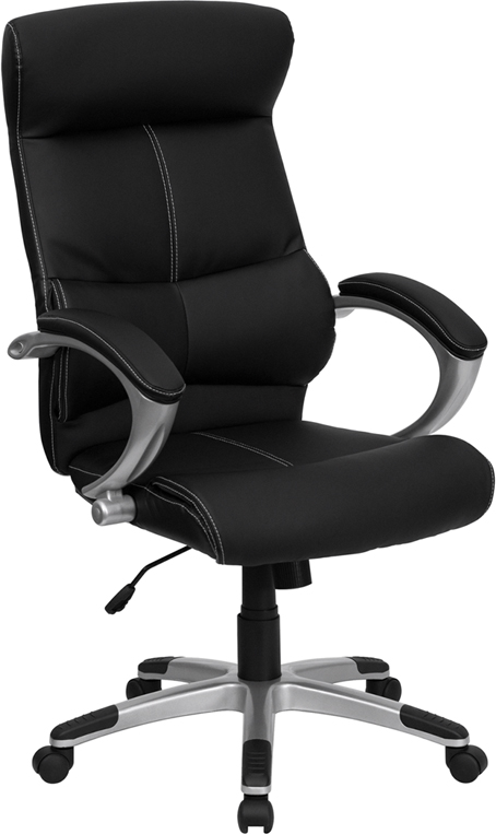 Wholesale High Back Black Leather Executive Swivel Office Chair with Curved Headrest and White Line Stitching