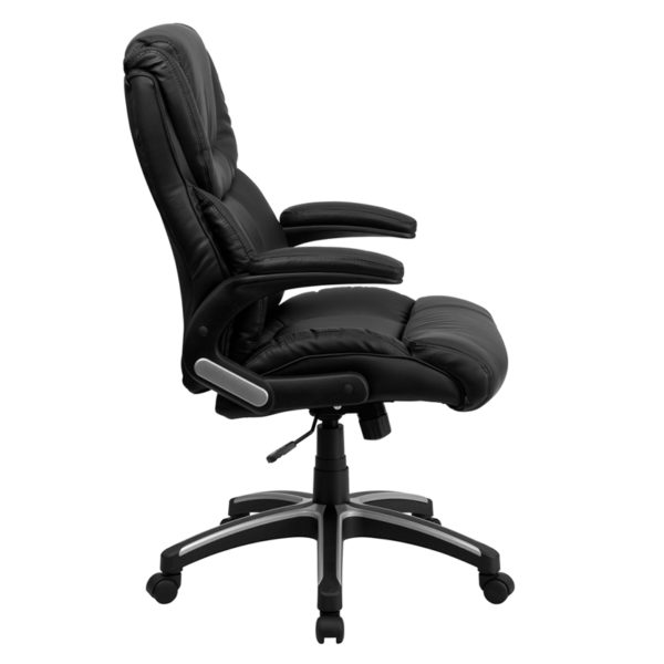 Lowest Price High Back Black Leather Executive Swivel Office Chair with Double Layered Headrest and Open Arms