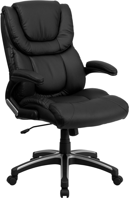 Wholesale High Back Black Leather Executive Swivel Office Chair with Double Layered Headrest and Open Arms