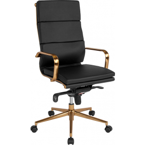 Wholesale High Back Black Leather Executive Swivel Office Chair with Gold Frame