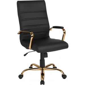 Wholesale High Back Black Leather Executive Swivel Office Chair with Gold Frame and Arms