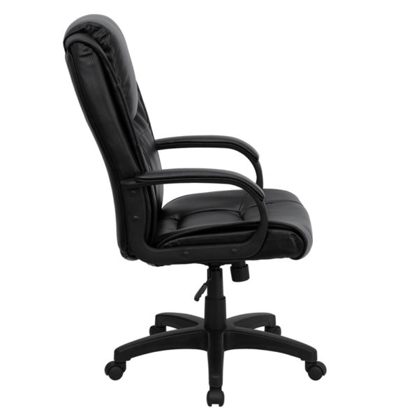 Lowest Price High Back Black Leather Executive Swivel Office Chair with Oversized Headrest and Arms